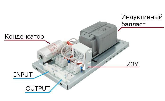 ЭмПРА открытого типа - схема начинки