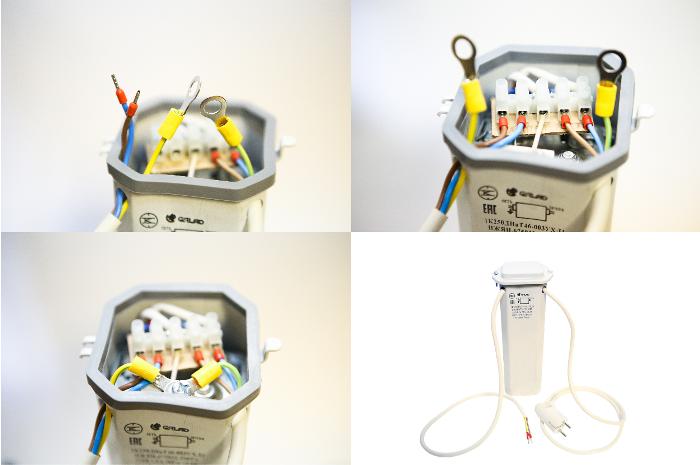 Монтаж провода на лампу в ЭмПРА
